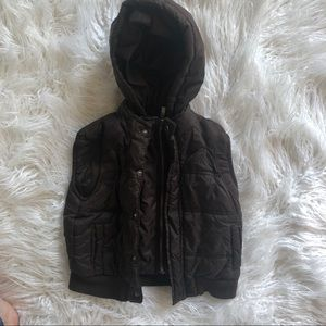 Brown padded hooded puffer vest Kenneth Cole 2T